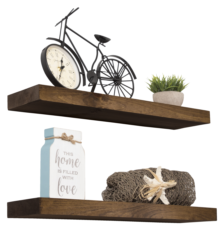 Imperative Décor Floating Shelves Rustic Wood Wall Shelf Set Of 2 Dark Walnut 24 X 5 5 Imperative Decor