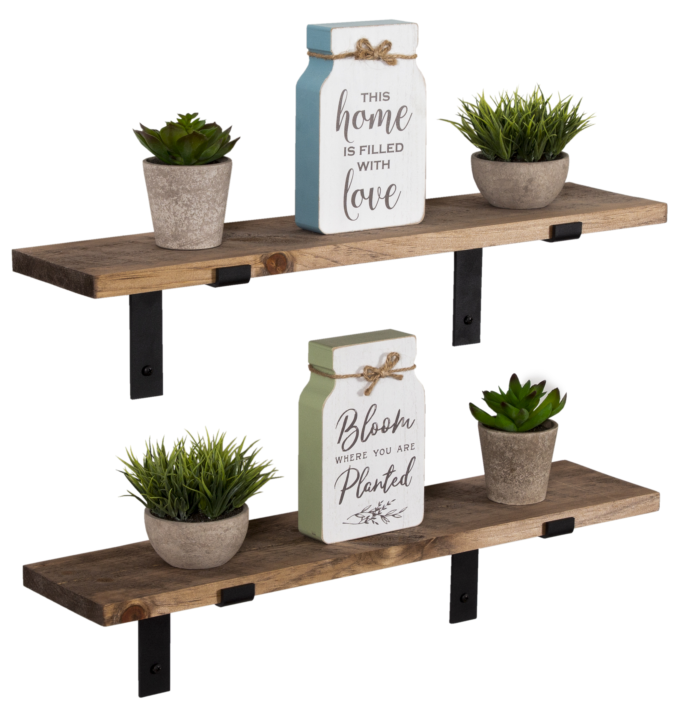 Imperative Decor Rustic Wood Floating Shelves Wall Mounted Storage Shelf With L Brackets Usa Handmade Set Of 2 24 X 5 5in Special Walnut